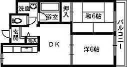 大阪府高石市千代田4丁目の賃貸マンションの間取り