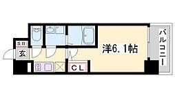 エスリード神戸兵庫駅マリーナスクエア 7階1Kの間取り