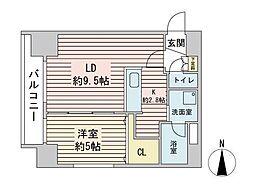 S-RESIDENCE円山表参道 2階1LDKの間取り