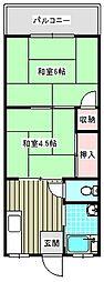 西粉浜マンション[402号室]の間取り