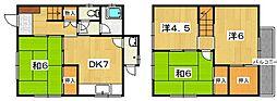 [一戸建] 京都府八幡市八幡安居塚 の賃貸【/】の間取り