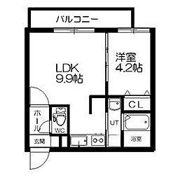札幌市営東西線 西11丁目駅 徒歩14分の賃貸マンション 2階1LDKの間取り