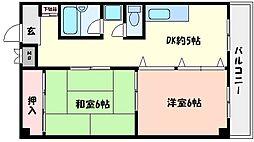 兵庫県神戸市東灘区深江北町2丁目の賃貸マンションの間取り