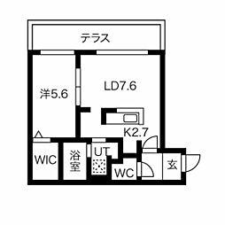 札幌市営東西線 西18丁目駅 徒歩6分の賃貸マンション 1階1LDKの間取り