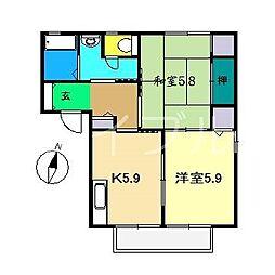 メゾン・Papier(パピエ)A棟[2階]の間取り