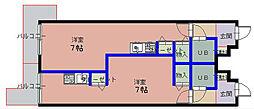 嶋本マンションVIII 3階ワンルームの間取り