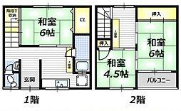 京阪本線 西三荘駅 徒歩14分の賃貸テラスハウス 1階3Kの間取り