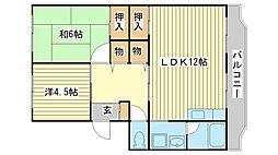 兵庫県姫路市新在家4丁目の賃貸マンションの間取り
