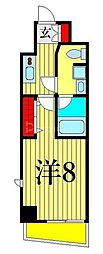 東京メトロ日比谷線 三ノ輪駅 徒歩4分の賃貸マンション 11階1Kの間取り