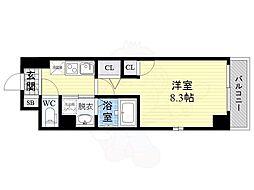 京阪本線 野江駅 徒歩9分の賃貸マンション 7階1Kの間取り