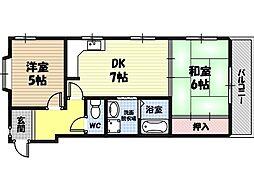 カーレンベルグ 6階2DKの間取り