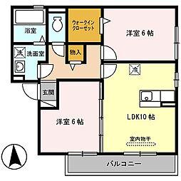 大阪府八尾市南本町4丁目の賃貸アパートの間取り