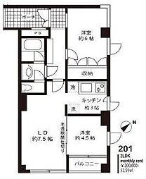 東京都目黒区東山2丁目の賃貸マンションの間取り