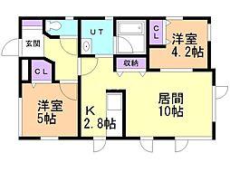 Casa Olivo 1階2LDKの間取り