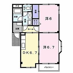 エクレール城東[2階]の間取り