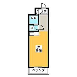 セザール松原[4階]の間取り