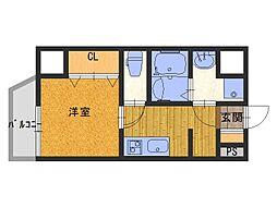 JR大阪環状線 寺田町駅 徒歩9分の賃貸マンション 5階1Kの間取り