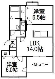 北海道札幌市中央区宮の森三条7丁目の賃貸マンションの間取り