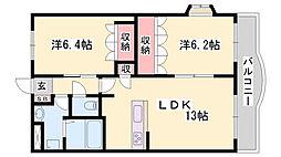 JR姫新線 播磨高岡駅 徒歩20分の賃貸マンション 5階2LDKの間取り