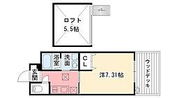 兵庫県西宮市深津町の賃貸アパートの間取り