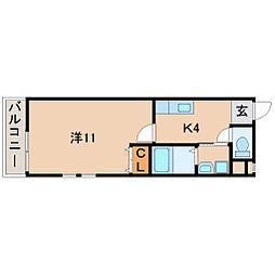 南海線 和歌山市駅 徒歩5分の賃貸アパート 1階1Kの間取り