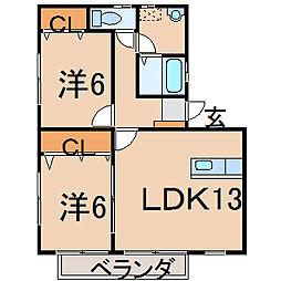 福島県福島市瀬上町字町裏の賃貸アパートの間取り