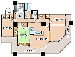 兵庫県神戸市東灘区住吉東町5丁目の賃貸マンションの間取り
