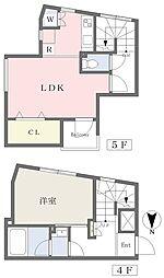 Kukai Terrace四谷 4階1LDKの間取り
