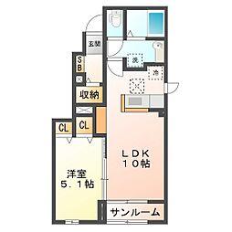 レジデンスN II[1階]の間取り