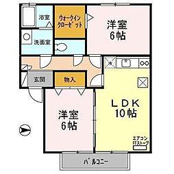 青森県八戸市長根4丁目の賃貸アパートの間取り