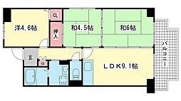兵庫県神戸市東灘区甲南町3丁目の賃貸マンションの間取り