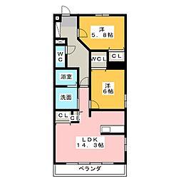 つつみタウンII[3階]の間取り