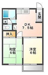 リディア赤坂 A[2階]の間取り