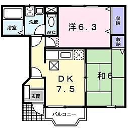 クレストール海神1番館[1階]の間取り