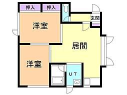 メゾン松本B 2階2LDKの間取り