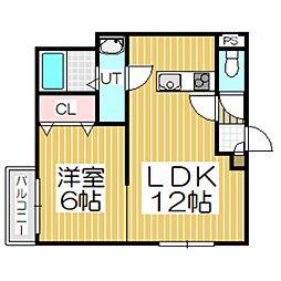 ラプラセ・ドゥ[2階]の間取り