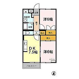 エバーヒルマンション[2階]の間取り