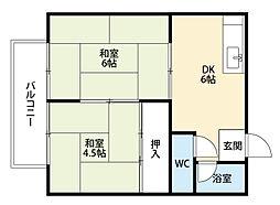 福岡県北九州市八幡西区友田1丁目の賃貸アパートの間取り