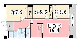 キャッスルコート国府寺町[202号室]の間取り