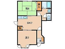 和歌山県和歌山市榎原の賃貸アパートの間取り