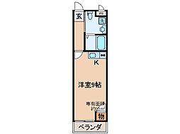 京阪本線 伏見桃山駅 徒歩3分の賃貸アパート 2階ワンルームの間取り