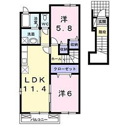 福岡県北九州市若松区中畑町の賃貸アパートの間取り