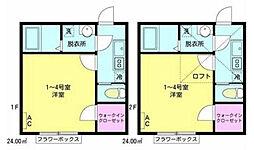 東京都江戸川区松本2丁目の賃貸アパートの間取り
