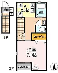 広島県福山市明神町2丁目の賃貸アパートの間取り