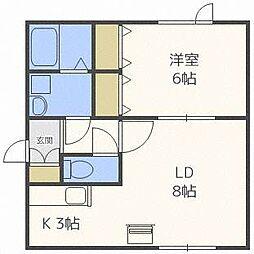 北海道札幌市東区北三十五条東6丁目の賃貸アパートの間取り