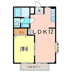 エスポアール祇園B[201号室]の間取り