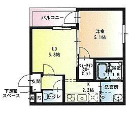 近鉄奈良線 若江岩田駅 徒歩2分の賃貸アパート 3階1LDKの間取り