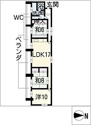 ジュネス21[5階]の間取り