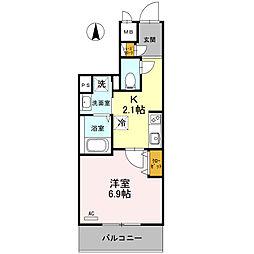Osaka Metro御堂筋線 北花田駅 徒歩8分の賃貸マンション 2階1Kの間取り