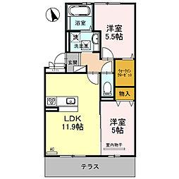 近鉄長野線 喜志駅 徒歩10分の賃貸マンション 3階2LDKの間取り